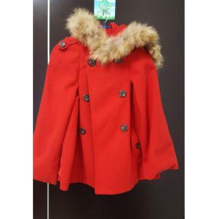 正韓製 紅色連帽斗篷外套