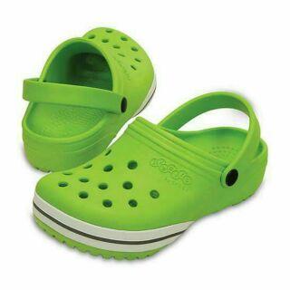 CROCS 大童草綠色 涼鞋 拖鞋 尺碼J3