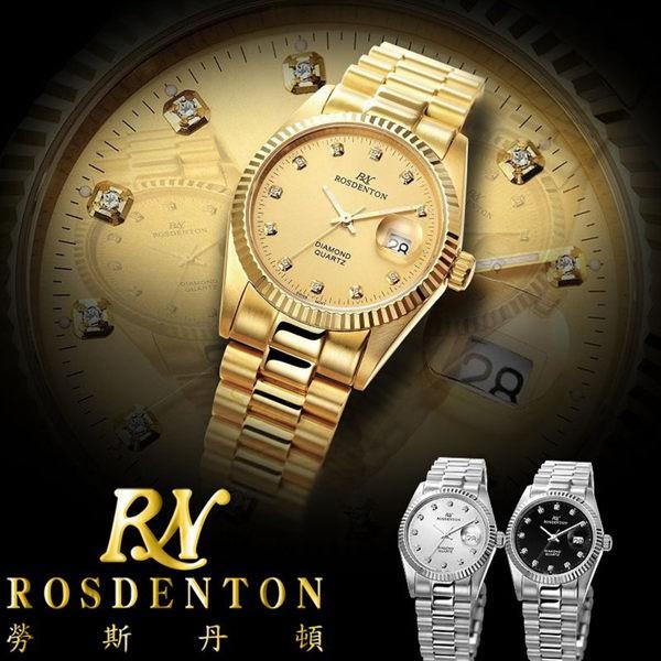 【臺南 時代鐘錶 勞斯丹頓】ROSDENTON 經典珍藏真鑽金色男錶 6062MG-2G 金 33mm