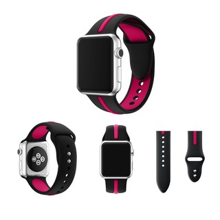 apple watch運動錶帶蘋果手錶錶帶 撞色矽膠錶帶
