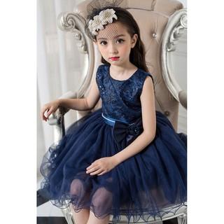 女童禮服 兒童女童優雅藍色禮服 鋼琴表演 紗裙禮服 畢業典禮 洋裝 表演服