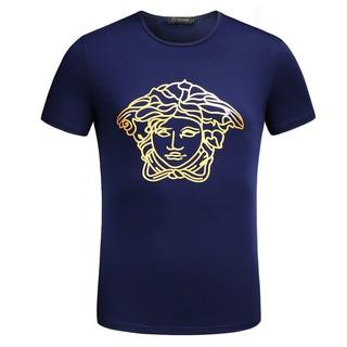 versace 凡賽斯圓領 經典款夏季新款 男女情侶衣T-shirt 大Logo衣服短袖 休閒短T11 深藍色