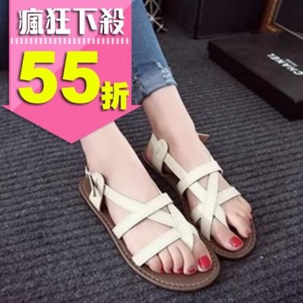 韓風 街頭穿搭羅馬交叉扣帶夾腳平底涼鞋 SHBZX15 (購潮8)