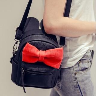 現貨 韓版可愛撞色蝴蝶結皮革雙肩包/斜背包側背包✨一包兩用✨出遊質感小背包✨一包兩用✨可愛米奇耳