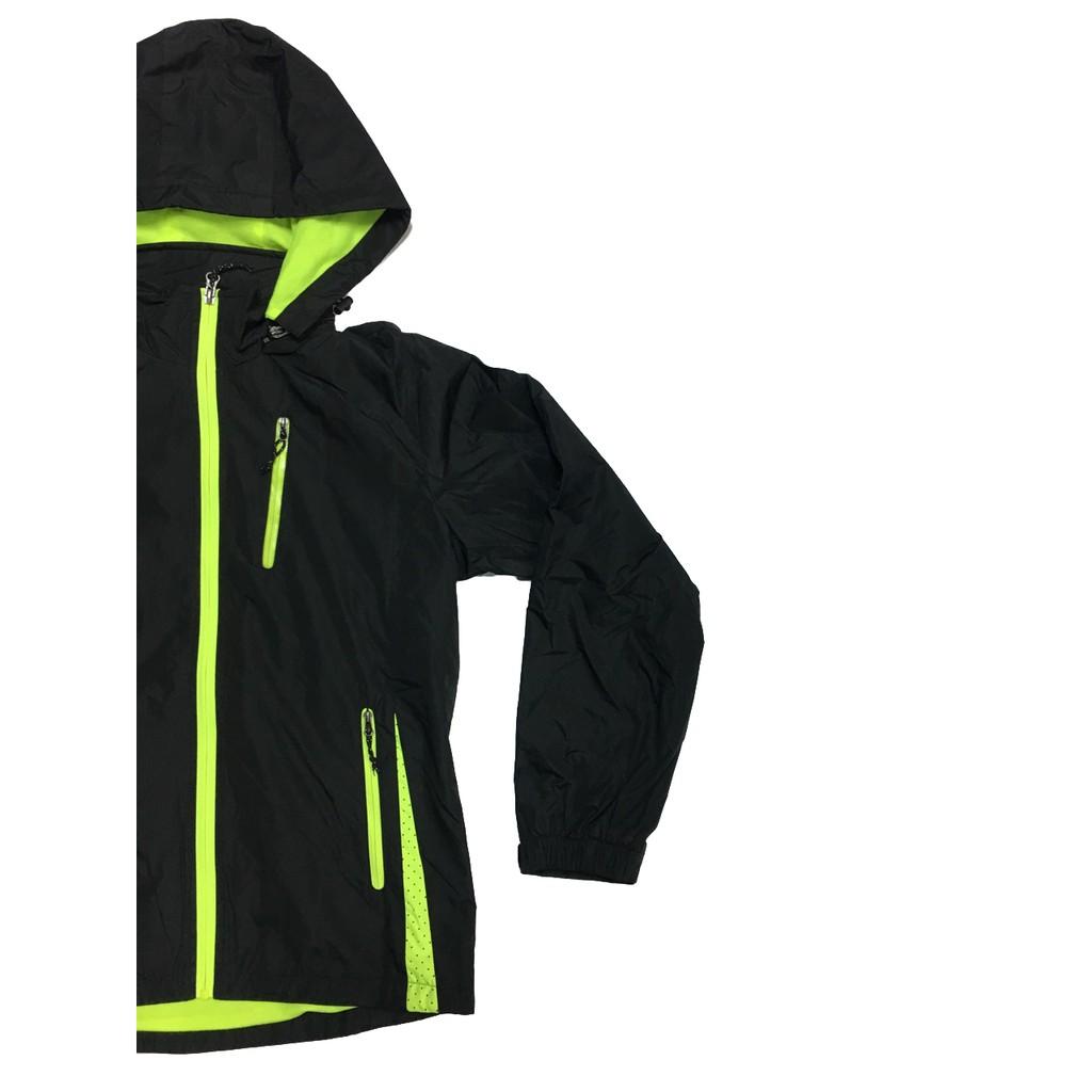 SOFO 外套 風衣外套 防風外套 網裏外套 風衣 防風保暖微潑水 黑/螢光 女款版型 - 現貨售完不補