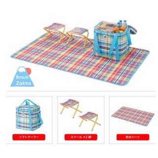 小腦袋商行日本LOGOS格子野外露營折疊椅+野餐墊+保溫保冷袋套組 日本雜貨