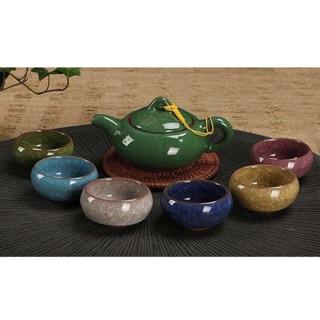 冰裂釉茶具組 一壺+六個彩色杯