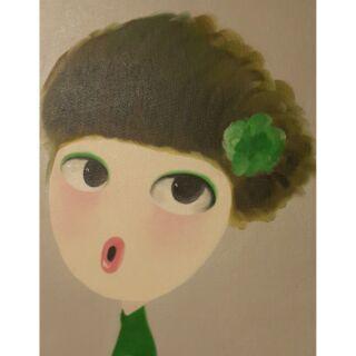 【HerzHome】 綠花噘嘴牆飾/畫作