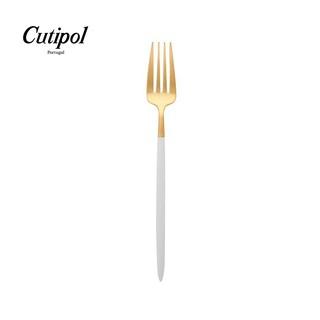 【葡萄牙Cutipol】GOA白柄霧金色 18.5cm 不銹鋼點心叉 蛋糕叉 水果叉 不銹鋼叉子 不鏽鋼餐具 葡萄牙製