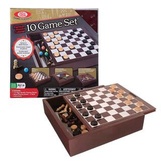 美國Ideal 經典桌遊系列-10合1桌上棋組 玩具 闔家遊戲 跳棋 西洋棋 雙陸棋 木盒