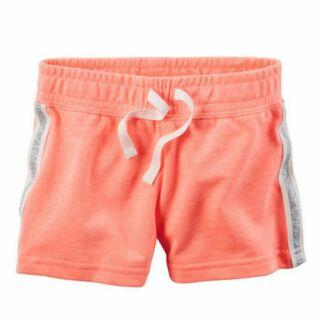 (特價)Carter's 卡特 美國正品 童裝女童女寶 桃色邊條抽繩鬆緊短褲 全新現貨12m