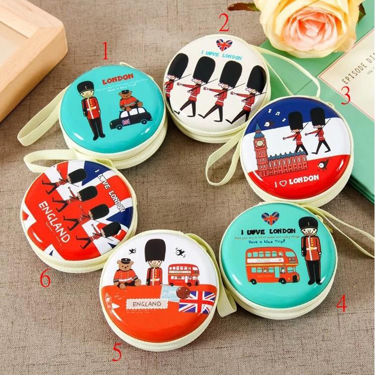 順大拍賣-韓國卡通零錢包 耳機包 收納包 可愛小錢包 小圓形耳機盒 多款可選 英倫士兵錢包