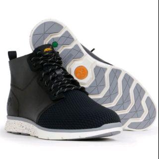 Timberland Killington男款黑色素面拼接綁帶中筒鞋|A15B8