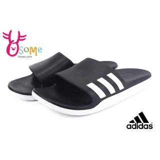 adidas氣墊運動拖鞋 全尺寸 Aqualette CF 休閒防水拖鞋O9391%23黑白◆OSOME奧森童鞋/小朋友