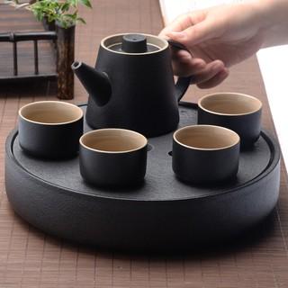 陶瓷茶具 簡約日式黑陶鑲銀整套功夫茶具家用烏金石干泡茶盤套裝