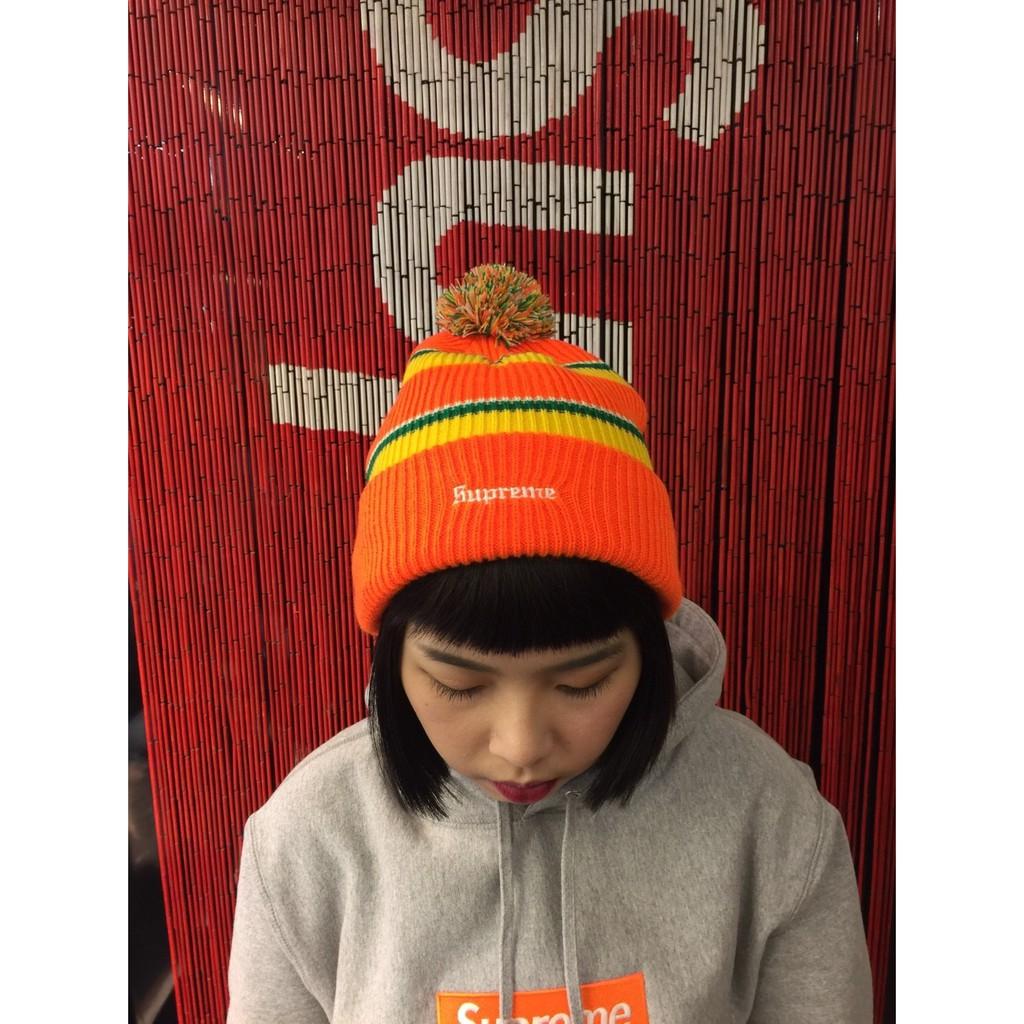 玉米潮流本舖 SUPREME Big Stripe Beanie FW17BN17 毛帽 橘色