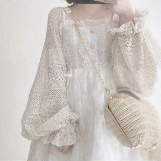 夢幻物語 免等❤你別睡原創復古蕾絲森女系燈籠袖繫帶外套森林系鄰家女孩自然系蕾絲罩衫日系外罩