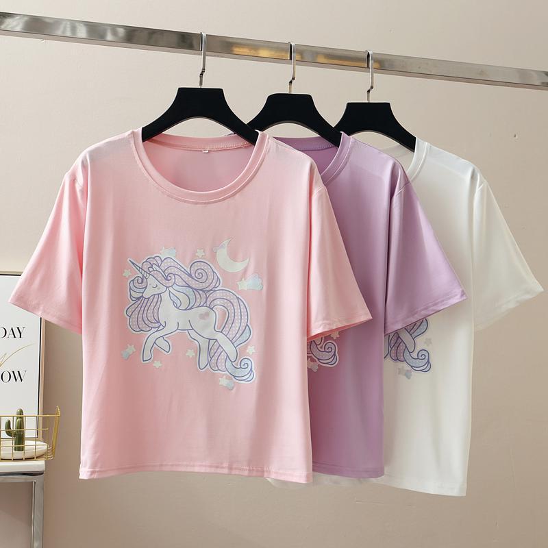 T 恤短袖T 恤短袖上衣打底衫女生上衣夏裝 學院風圓領字母印花寬鬆顯瘦短袖T 恤上