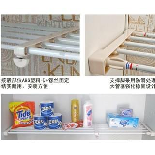 百分百--免釘衣櫃隔層分層隔板 收納隔層架 衣櫥撐架隔層板 櫥櫃置物架 可伸縮置物架衣架衣服鞋架(38-55)白色