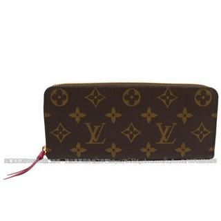 【格拉芙】Louis Vuitton LV M42119 Clemence 經典花紋拉鍊長夾.桃紅  現貨信譽店
