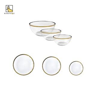 ~ ~半房金邊玻璃碗透明錘紋玻璃盤歐式沙拉碗水果