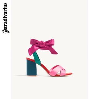 Stradivarius 代購 2017新款 蝴蝶結 緞帶跟鞋