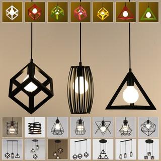 北歐復古工業風吊燈創意藝術個性咖啡廳三頭燈鳥籠小吊燈罩餐廳燈