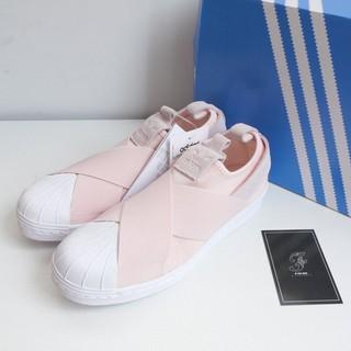 ~FACIO 桃園~ADIDAS SUPERSTAR SLIP ON W 粉紅白繃帶 板鞋