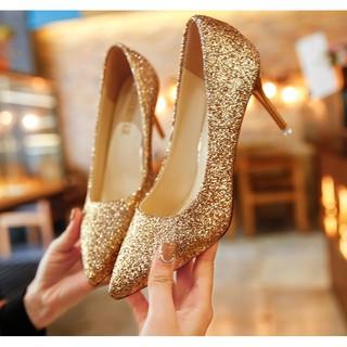 亮片尖頭淺口高跟鞋女細跟單鞋水晶鞋漸變新娘鞋婚鞋女2