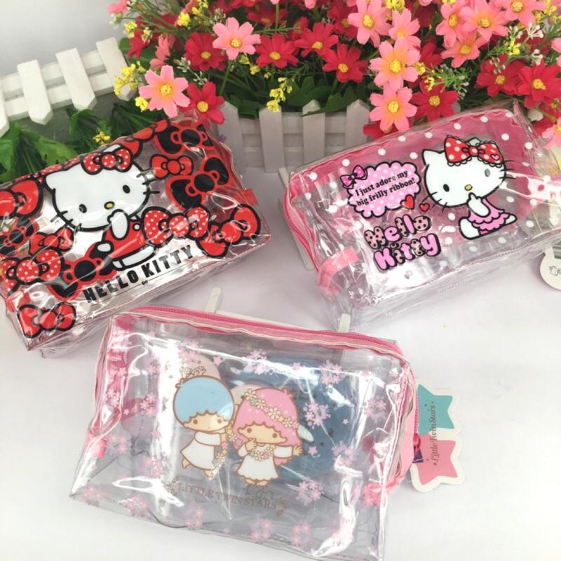 【Sanrio 三麗鷗】『台灣』[凱蒂貓][雙子星] 透明旅行袋組《Miamor Zakka》