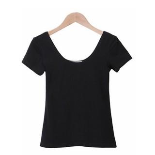 實拍黑色~S 2XL 顯胸棉質素面短袖T 恤低胸圓領大U 領薄款性感上衣大 短T 素T 大