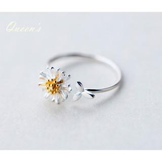 皇后銀飾 設計款小雛菊開口戒指 新款雛菊食指戒 不過敏 925純銀 J56