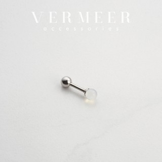 【正韓】晶透白玉石鋼針 耳環