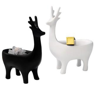 北 學 簡約家居森林動物鹿抽象 藝品擺飾收納架全身鹿 小物置物架門邊玄關裝飾桌上小物收納