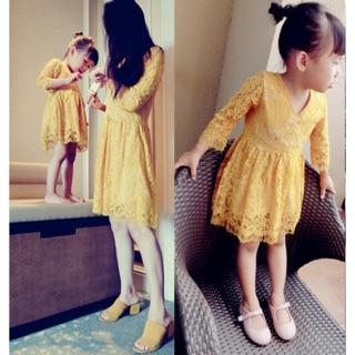 質感母女裝黃色睫毛蕾絲連衣裙洋裝