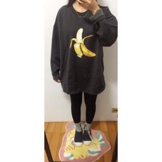 香蕉刷毛寬版T