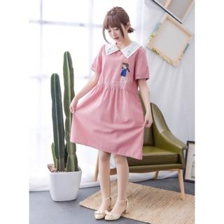 日系刺繡甜美短袖洋裝(預購)