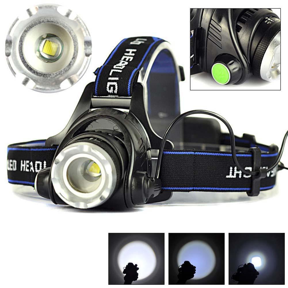 2000流明 可變焦 XM~L T6 LED 18650頭燈 戶外頭燈 便攜式頭燈 騎行頭