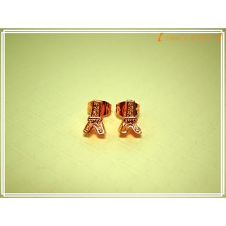 【 temis X bear 】正韓飾品韓國進口 玫瑰金色 可愛立體小鐵塔耳針
