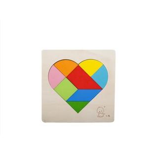 ~心形拼圖88 種玩法~益智拼圖立體拼圖木質玩具積木七巧板益智遊戲邏輯推理樂高云文WCO 12
