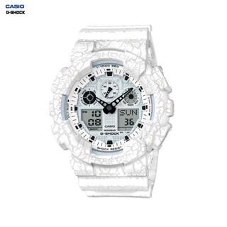 CASIO卡西歐G-Shock 爆裂紋白色GA-100CG-7A