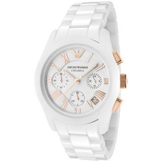 EMPORIO ARMANI 陶瓷錶帶玫瑰金邊三眼手錶腕表 AR1417 Armani男款