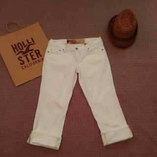 全新 HOLLISTER  高腰 抓破 白色 7分 牛仔褲 1