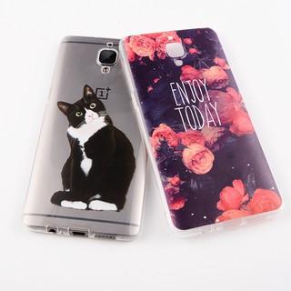 柔軟plus TPU手機殼Oneplus 3T X 5 1 + 5卡通貓玫瑰花紋時尚輕盈背面全包式手機殼