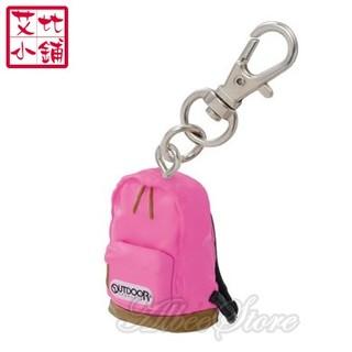 艾比》Outdoor迷你小背包鑰匙扣- A款粉紅色(後背包 小包包 玩具背包 黏土人公仔人偶配件 微縮模型 鑰匙圈 扭蛋