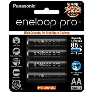 (附發票) 日本製 Panasonic  黑鑽款  eneloop pro 3號 2550mAh低自放電池 4入送電池盒