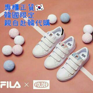 FILA x FOLDER COURT DELUXE V_FD 聯名款 魔鬼氈休閒鞋/厚底板鞋 網球馬卡龍系列 草莓牛奶
