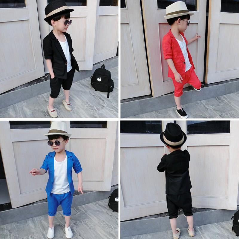 寶寶西裝套裝花童禮服男童裝夏裝嬰幼兒表演服兒童小西服兩件套