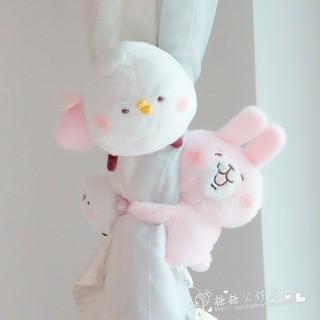 卡娜赫拉的小動物毛絨卡通窗簾扣綁帶粉兔子小雞扣環