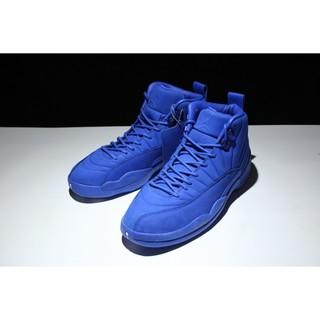 air jordan 12 premium 喬丹12代時尚全皮籃球鞋 純藍 男鞋
